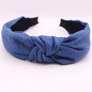 Bohemian Blue Denim Hairbands Headbands Loom Rack Blue