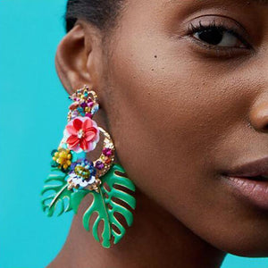 Bohemian Floral Leaf Drop Earrings Drop Earrings Loom Rack