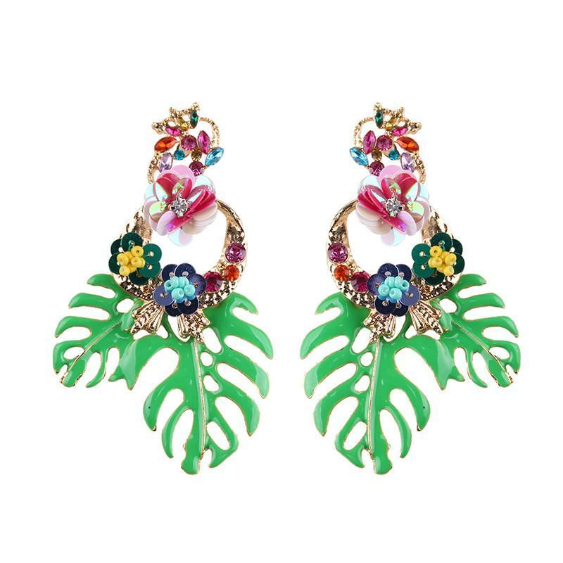 Bohemian Floral Leaf Drop Earrings Drop Earrings Loom Rack Green