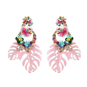 Bohemian Floral Leaf Drop Earrings Drop Earrings Loom Rack Pink