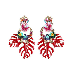 Bohemian Floral Leaf Drop Earrings Drop Earrings Loom Rack Red