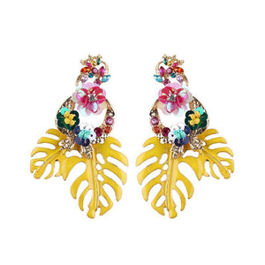 Bohemian Floral Leaf Drop Earrings Drop Earrings Loom Rack Yellow