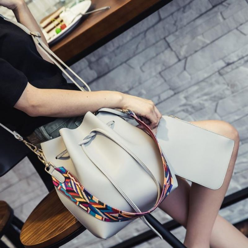 Boho Bucket Bag with Multicolor Shoulder Strap Shoulder Bags Loom Rack