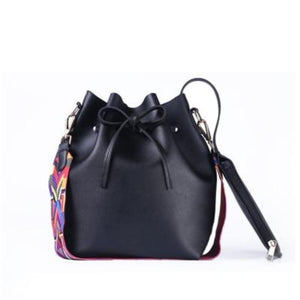 Boho Bucket Bag with Multicolor Shoulder Strap Shoulder Bags Loom Rack Black