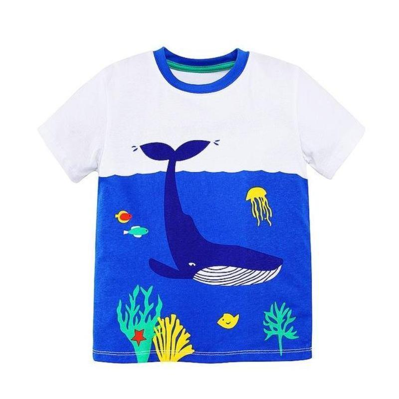 Boys 100% Cotton Summer T-Shirt (Sizes 18M - 2T) T-Shirts Loom Rack Blue Whale Pattern 2T