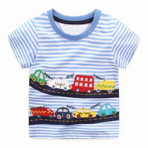 Boys 100% Cotton Summer T-Shirt (Sizes 18M - 2T) T-Shirts Loom Rack City Car Pattern 2T