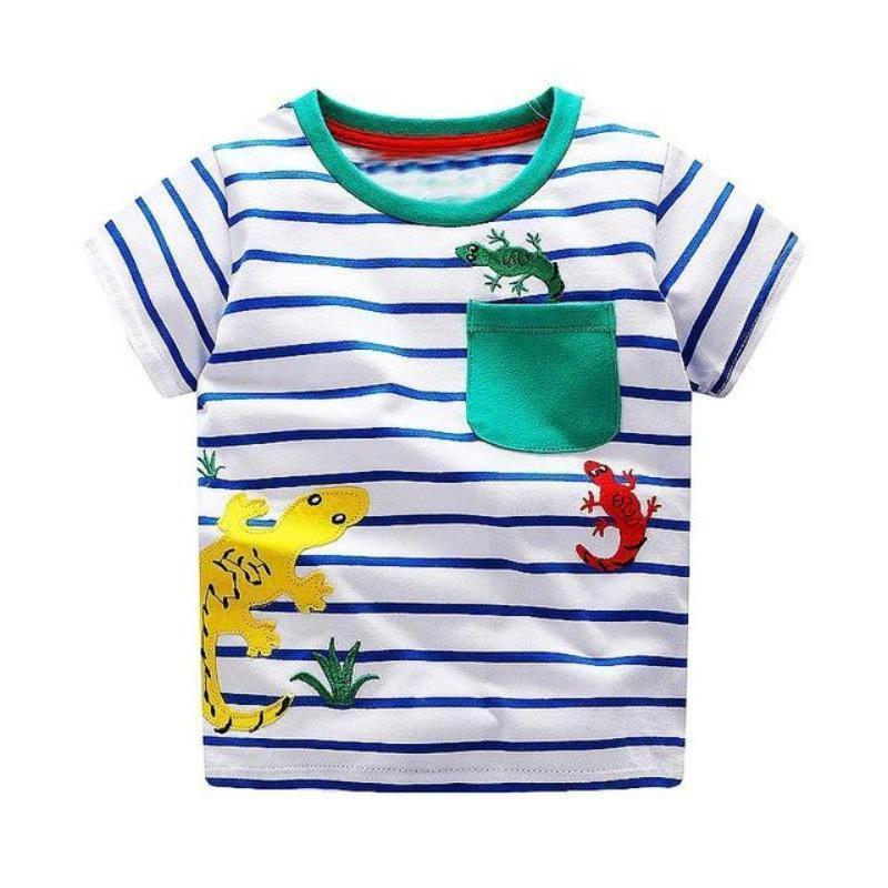 Boys 100% Cotton Summer T-Shirt (Sizes 18M - 2T) T-Shirts Loom Rack Lizard Pattern 2T