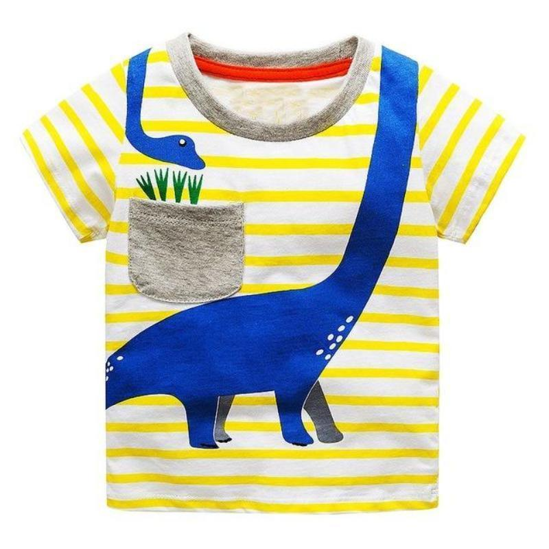 Boys 100% Cotton Summer T-Shirt (Sizes 18M - 2T) T-Shirts Loom Rack Sauropod Dino Pattern 2T