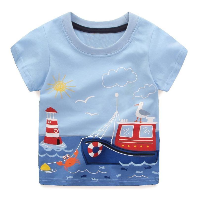 Boys 100% Cotton Summer T-Shirt (Sizes 18M - 2T) T-Shirts Loom Rack Ship-Fish Pattern 2T
