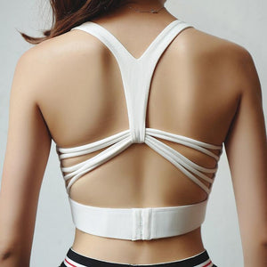 Butterfly Strappy Back Pushup Sports Bra Sports Bras Loom Rack