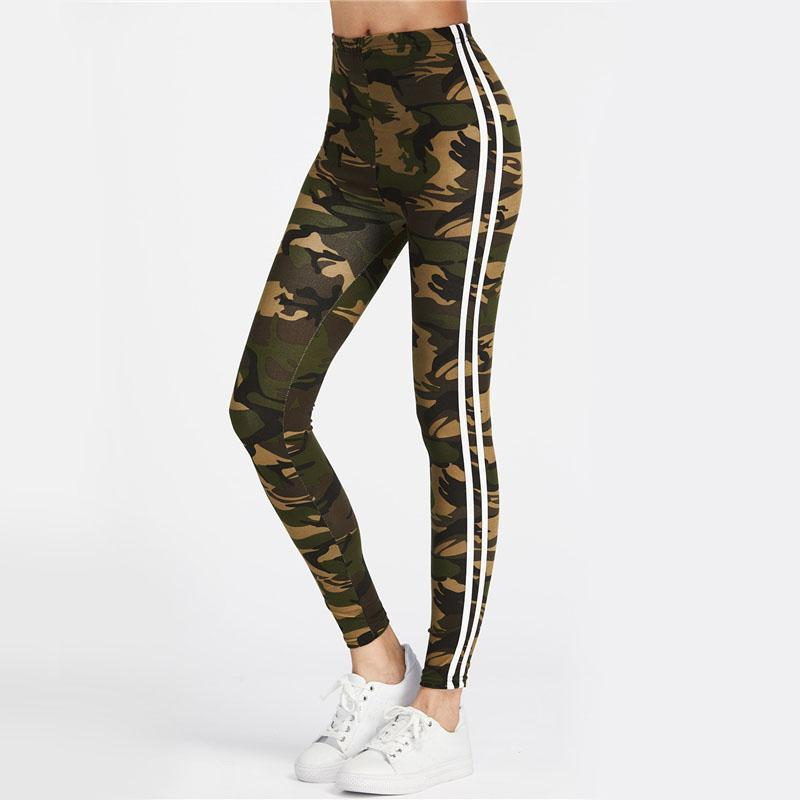 Camo Leggings with White Stripes Leggings Multi / S