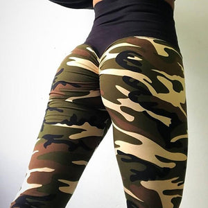 Camo Scrunch Butt Leggings Leggings Loom Rack Army Green XS