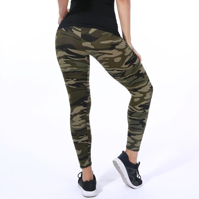 Camo Ultra Elastic Leggings Leggings Loom Rack Army Gray One Size