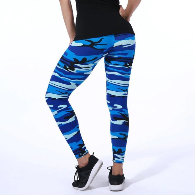 Camo Ultra Elastic Leggings Leggings Loom Rack Blue White One Size