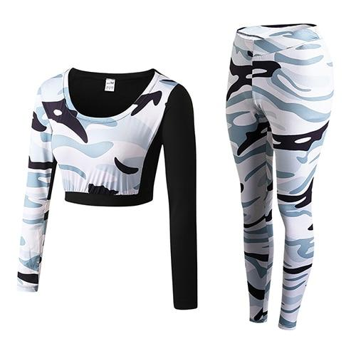 Camouflage Fitness Yoga Set Fitness Loom Rack white Camou S