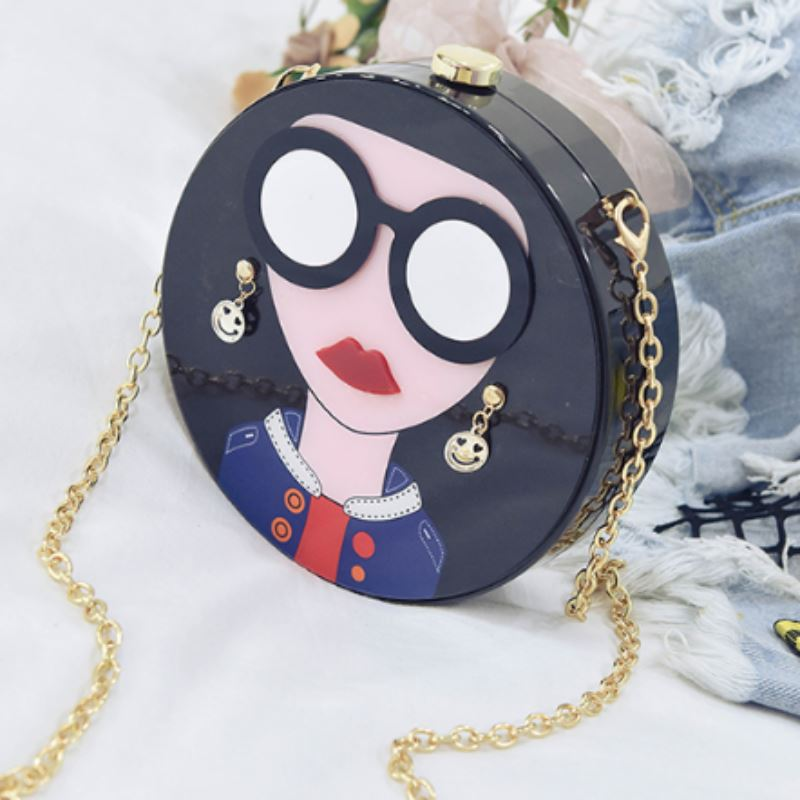 Cartoon Evening Clutch Bag Shoulder Bags Loom Rack Black