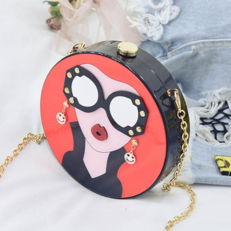 Cartoon Evening Clutch Bag Shoulder Bags Loom Rack Red