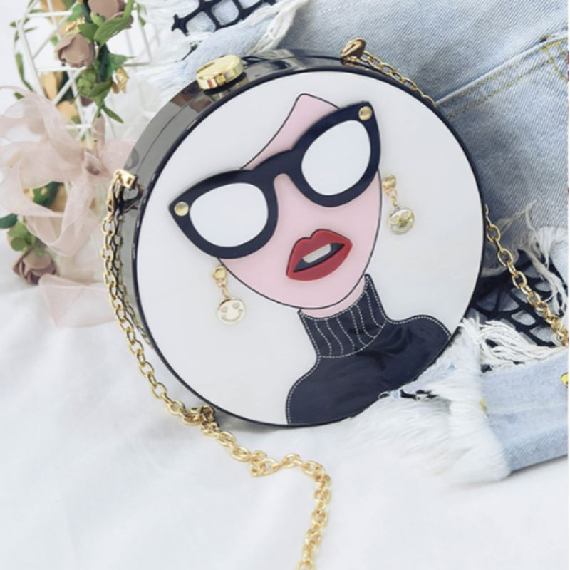 Cartoon Evening Clutch Bag Shoulder Bags Loom Rack White