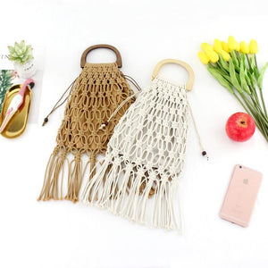 Casual Fishnet Tassel Rattan Bag Rattan Bags black / with Lining