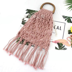 Casual Fishnet Tassel Rattan Bag Rattan Bags Loom Rack Pink with Lining