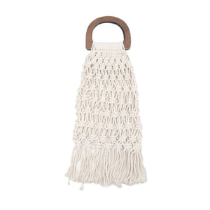 Casual Fishnet Tassel Rattan Bag Rattan Bags Loom Rack White - Gray Handle with Lining