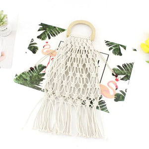 Casual Fishnet Tassel Rattan Bag Rattan Bags Loom Rack White - White Handle with Lining