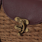 Casually Elegant Rattan & Faux Leather Bag Rattan Bags Beige
