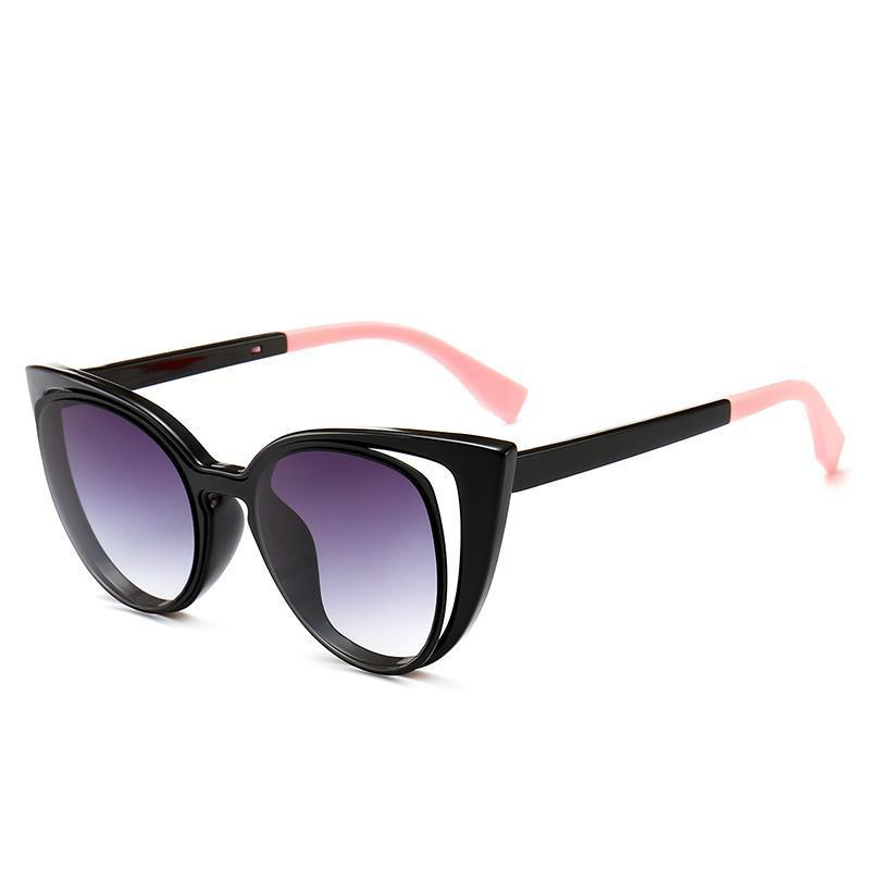 Chic Hollow Cat Eye Sunglasses Sunglasses Loom Rack Black Shaded Pink