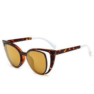 Chic Hollow Cat Eye Sunglasses Sunglasses Loom Rack Leopard Brown Lens