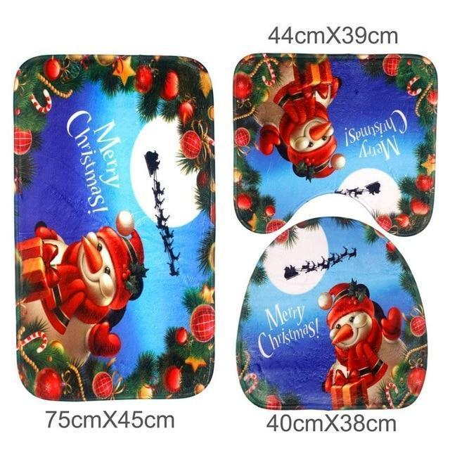 Christmas Bathroom Set - Toilet Cover Rug 3-Pc Set Christmas Accessories Loom Rack Flannel Snowman