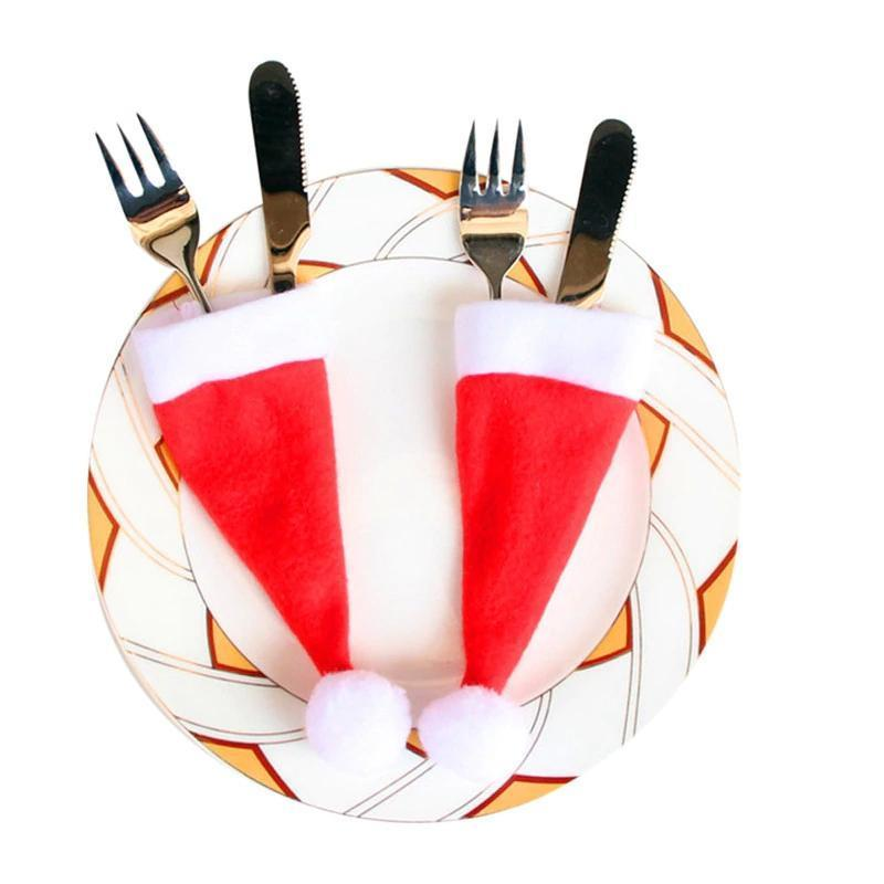 Christmas Hat Cutlery Holders 10-Piece Set Christmas Accessories Loom Rack Red