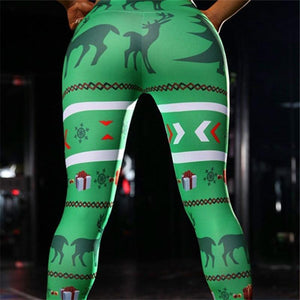 Christmas Leggings - Green Deer Print Christmas Leggings Loom Rack