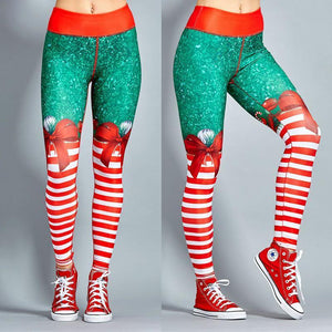 Christmas Leggings - High Waist Candy Stripe Bow Christmas Leggings Loom Rack Stripe Red XS