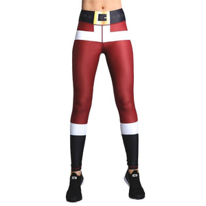 Christmas Leggings High Waist Christmas Leggings Loom Rack Red Black XS
