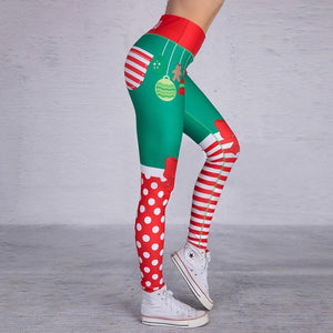Christmas Leggings - High Waist Elf Squad Green Polka Dot Stripe Christmas Leggings Loom Rack