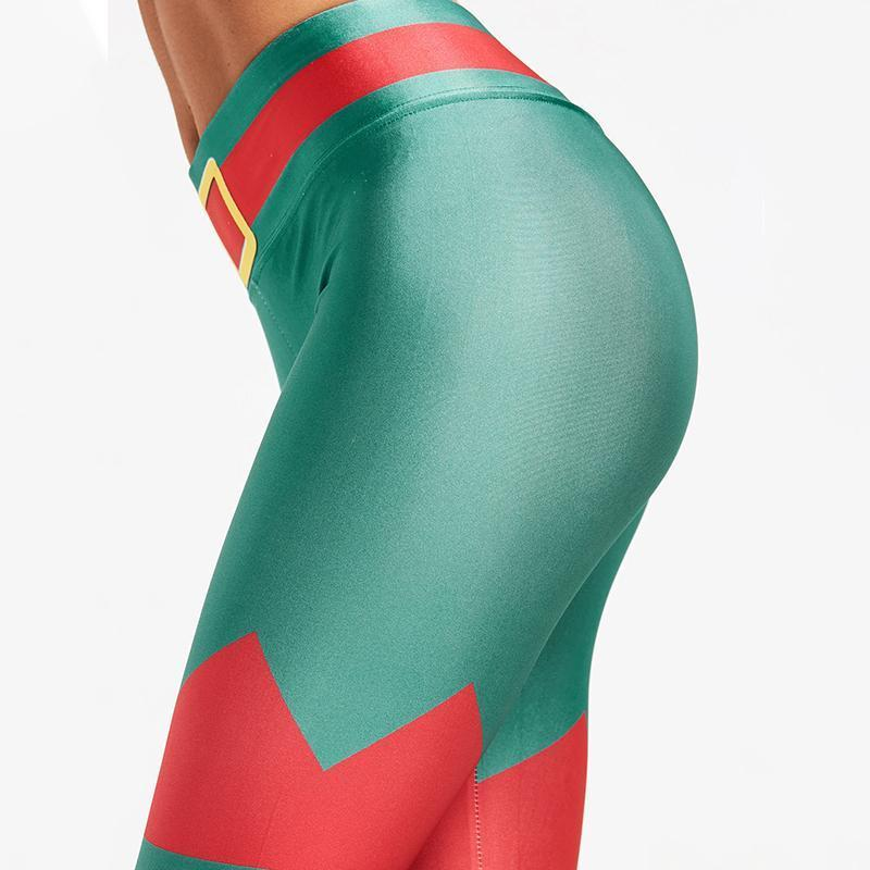 Christmas Leggings - High Waist Green Belted Elf Christmas Leggings Loom Rack