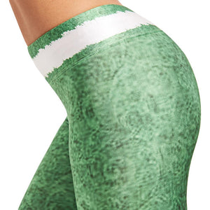 Christmas Leggings - High Waist Green Belted Stripe Christmas Leggings Loom Rack