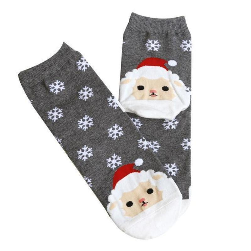 Christmas Santa Bunny Socks Christmas Socks Loom Rack Gray