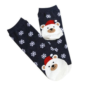 Christmas Santa Bunny Socks Christmas Socks Loom Rack Navy Blue