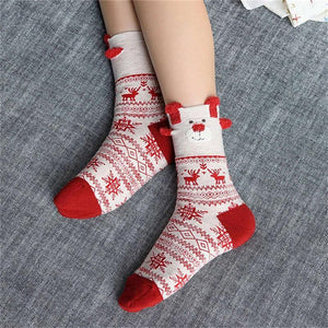 Christmas Santa Claus Deer Socks Christmas Socks Loom Rack White Red
