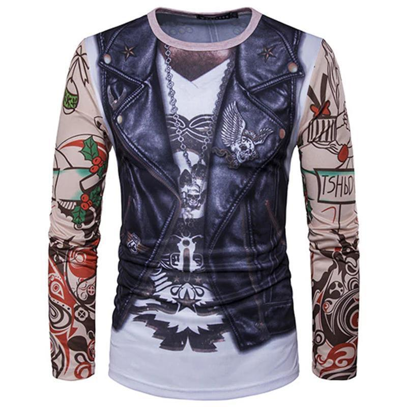 Christmas Ugly Sweater Long Sleeve Muscle T- Shirt - Biker Christmas Ugly Sweaters Loom Rack Biker S