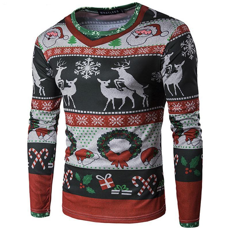 Christmas Ugly Sweater Long Sleeve Muscle T- Shirt - Deer Christmas Ugly Sweaters Loom Rack Deer S