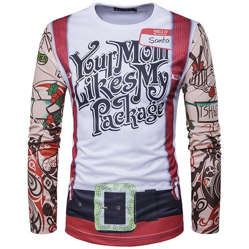 Christmas Ugly Sweater Long Sleeve Muscle T- Shirt - Tattoo - Mom Likes My Package Christmas Ugly Sweaters Loom Rack Tattoo - Mom Likes My Package S
