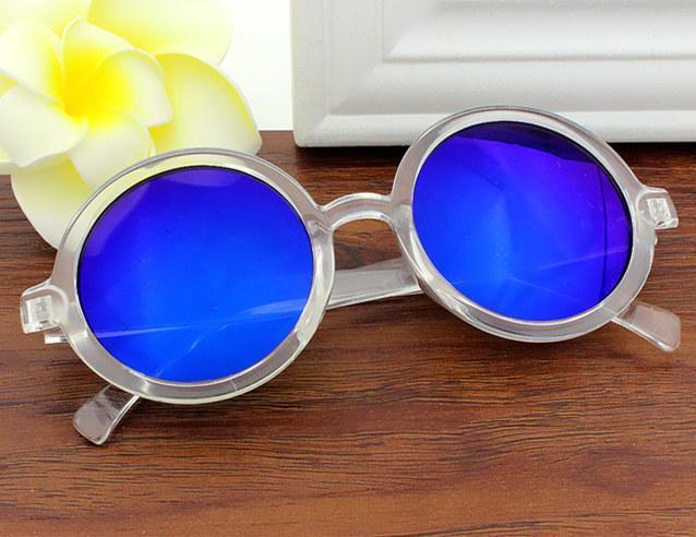 Classic Round Frame Sunglasses Sunglasses Loom Rack Blue