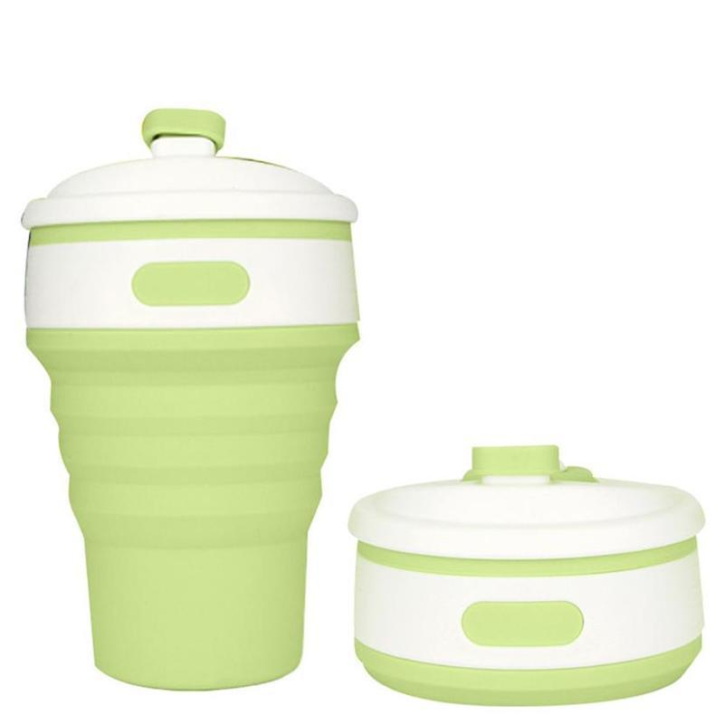 Collapsible Coffee Mug - Perfect On-the-Go Collapsible Cup for Travel & Camping Mugs Loom Rack Green 350ML