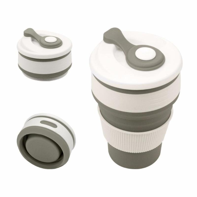 Collapsible Coffee Mug - Perfect On-the-Go Collapsible Cup for Travel & Camping Mugs Loom Rack Light Grey 350ML