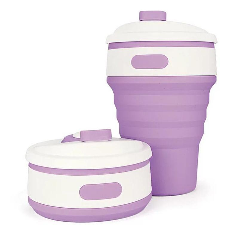 Collapsible Coffee Mug - Perfect On-the-Go Collapsible Cup for Travel & Camping Mugs Loom Rack Purple 350ML