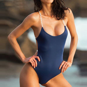 Criss Cross Brazilian One-Piece Swimsuit Swimsuits 2019 Loom Rack Blue S