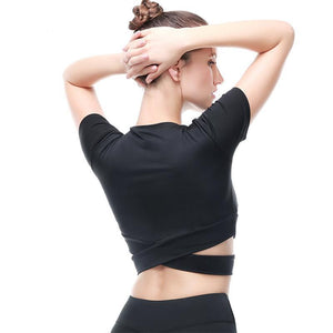 Criss-Cross Short Sleeve Crop Workout Top Sports Bras Loom Rack