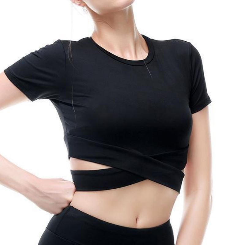 Criss-Cross Short Sleeve Crop Workout Top Sports Bras Loom Rack Black S